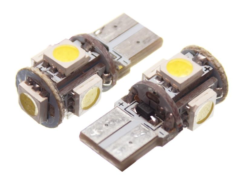 Avansert 5 x SMD LED Pærer 12 V - W3W / W5W - Matronics ME-99