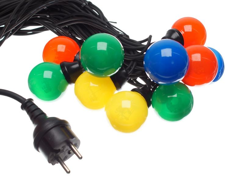 Smuk Festival farvet LED Lyskæde, 8 + 1.5m - 10 Pærer - Matronics RU-93