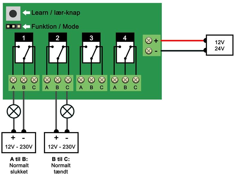 12 volt relæ tilslutning